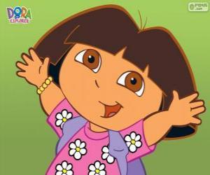Dora die Explorer mit einem Hemd mit Blumen puzzle