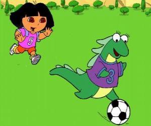 Dora Fußball spielen mit ihrer Freundin Isa, dem Leguan puzzle