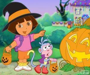 Dora und Boots der Affe feiern Halloween puzzle