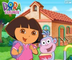 Dora und Boots, die zur Schule gehen puzzle