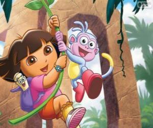Dora und Boots in einem seiner Abenteuer puzzle