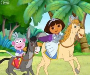 Dora und ihrem Affen Boots reiten durch puzzle