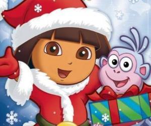 Dora wünscht Ihnen Frohe Weihnachten puzzle