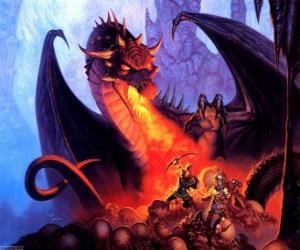 Drachen werfendes feuer durch den mund puzzle