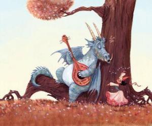 Dragon sang ein Lied mit Prinzessin puzzle