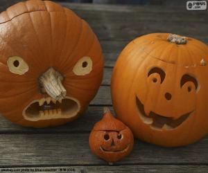 Drei Halloween-Kürbisse puzzle