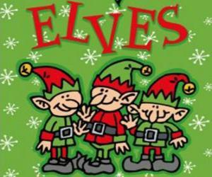 Drei kleine Elfen des Weihnachtsmannes puzzle