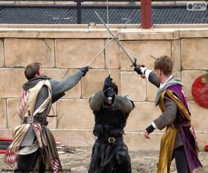 Drei Ritter kämpfen puzzle
