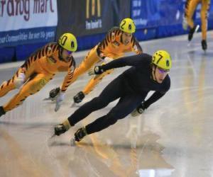 Drei skater in einem eisschnelllauf rennen puzzle