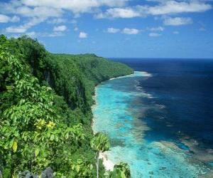 East Rennell ist die größte Atoll der Welt größte hoch. Salomonen. puzzle