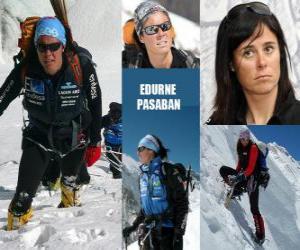 Edurne Pasaban ist ein spanischer Bergsteiger und die erste Frau in der Geschichte zu besteigen die 14 achttausend (Berge über 8000 Meter) von dem Planeten. puzzle