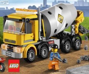 Ein Betonmischer-LKW und Bauarbeiter, Lego City puzzle