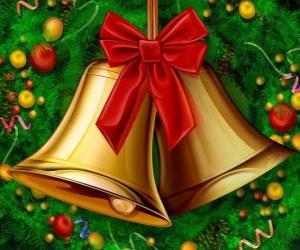 Ein paar Weihnachtsglocken mit einem Band puzzle