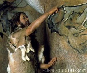 Ein prähistorischer künstler, der einen höhleanstrich darstellt einen büffel in der wand einer höhle verwirklicht, während durch einen dinosaurier von der außenseite beobachtet wird puzzle