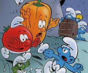 Ein Schlumpf wird von einem Tomaten-und Paprika verfolgt puzzle