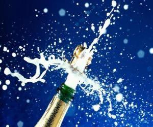 Eine Flasche Champagner zu feiern das neue Jahr uncorking puzzle