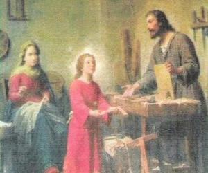 Eine junge Jesus als tischler mit seinem vater Joseph puzzle