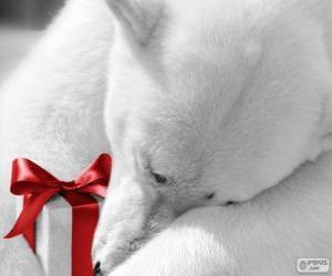 Eisbär mit einem Geschenk puzzle
