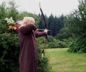 Elf jäger bewaffnet mit pfeil und bogen zu schießen puzzle