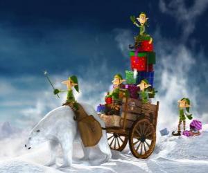 Elfen helfen Weihnachtsmann liefern Weihnachtsgeschenke puzzle