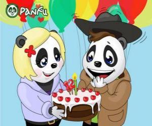 Ella bringt einen Kuchen zu seinem Geburtstag Max feiern puzzle
