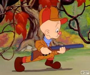 Elmer Fudd, der Jäger, der versucht auf die Jagd nach Bugs Bunny puzzle