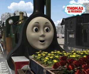 Emily ist die smaragdgrünen Lokomotive das neueste Mitglied des Teams der Dampflokomotiven puzzle