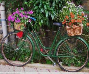 Fahrrad mit Körben voller Blumen puzzle