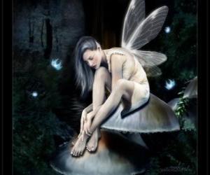 Fairy sitzend auf einem Pilz puzzle