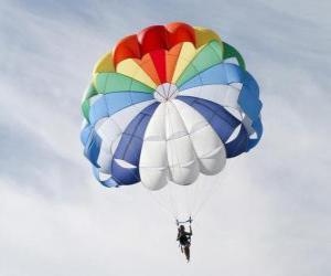 Fallschirmspringer nach unten durch die Wolken in einen Fallschirm nach einem Sprung aus einem Flugzeug puzzle