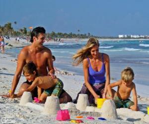 Familie am Strand puzzle