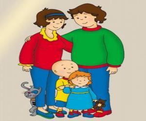 Familienportrait von Caillou, seine kleine Schwester Rosie, sein Vater Boris, seine Mutter Doris und Gilbert die Katze puzzle