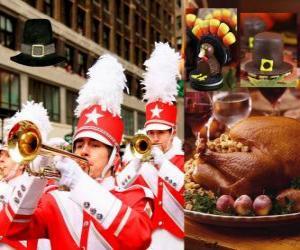 Feier des Danksagung mit den traditionellen Truthahn und Pilger typischen Hut. U. S. Held der vierten Donnerstag im November puzzle