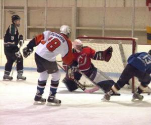 Feld-Spieler und ein torwart in der Eishockey-Spiel puzzle