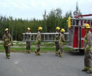 Feuerwehrmann mit einer leiter puzzle