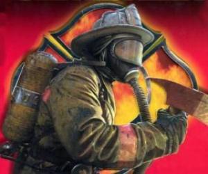 Feuerwehrmann verlassen eines gebäudes mit der axt in der hand puzzle