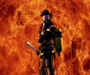Feuerwehrmann vor dem Feuer puzzle