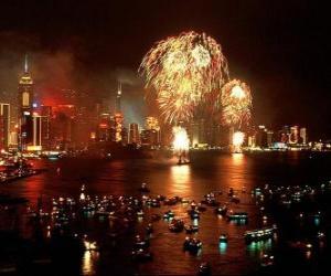 Feuerwerk zur Feier des Neuen Jahres in Hongkong puzzle