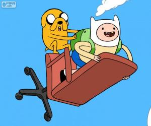 Finn und Jake fliegen puzzle