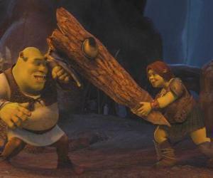 Fiona, der Krieger, zusammen mit Shrek puzzle