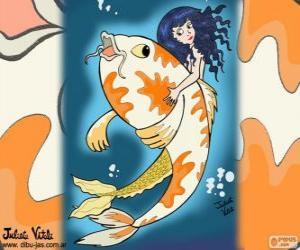 Fisch und Meerjungfrau, eine Zeichnung von Juliet puzzle