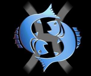 Fische. Twelfth Zeichen des Tierkreises. Der lateinische Name ist Pisces puzzle