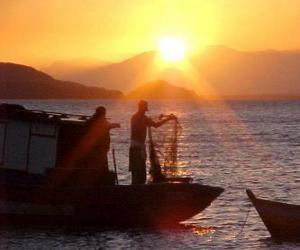 Fischer bei Sonnenuntergang puzzle