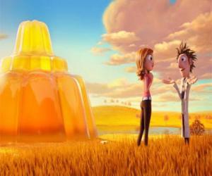 Flint und Sam vor einer riesigen Torte Gelee puzzle
