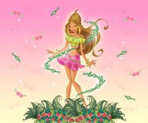 Flora, Fee on blumen puzzle