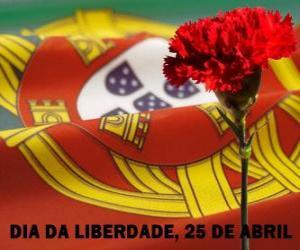 Freiheitstag, 25. April, um Portugals Nationalfeiertag der Nelkenrevolution von 1974 gedenken puzzle