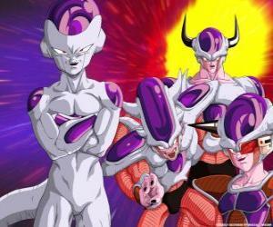 Frieza, ein supervillain und ein großer Feind von Son-Goku leben können variabel im Weltraum puzzle
