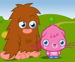 Furi und Poppet, zwei lustige monster aus Moshi Monsters puzzle