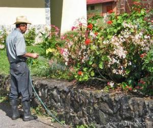 Gärtner Gießen im Frühjahr puzzle