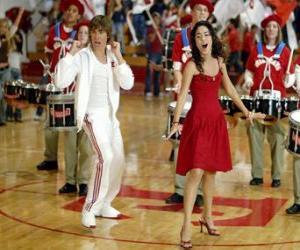 Gabriella Montez (Vanessa Hudgens) Troy Bolton (Zac Efron) singen und tanzen puzzle